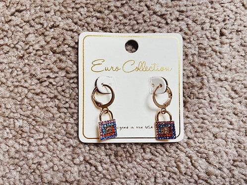 Rhinestone Lock Earrings - Multi