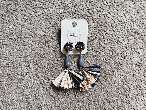 Paper Tassel Earrings - Black/Gold/Grey