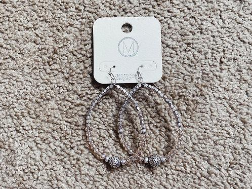 Beaded Teardrop Hoop Earrings - Silver/Pale Pink