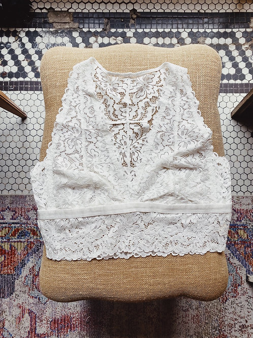 White Lace Racerback Bralette (Plus)