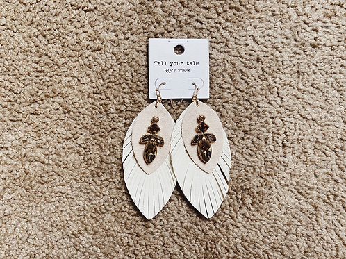 Layered Feather Earrings - Ivory