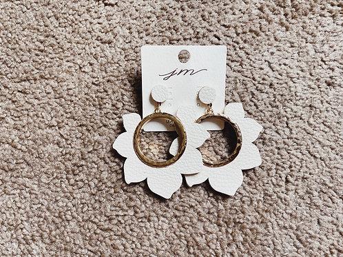 Leather Hoop Earrings - Ivory