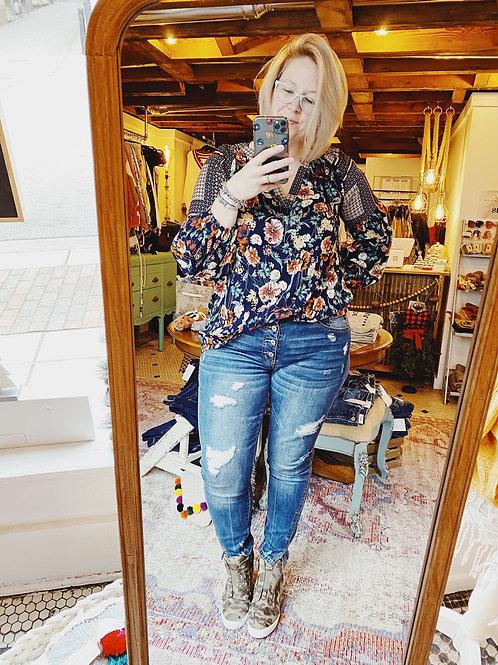 Distressed Kancan 4-Button High Waist Jeans