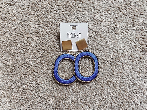 Embroidered Hoop Earrings - Royal