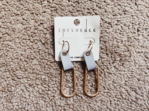 Leather/Metal Hoop Earrings