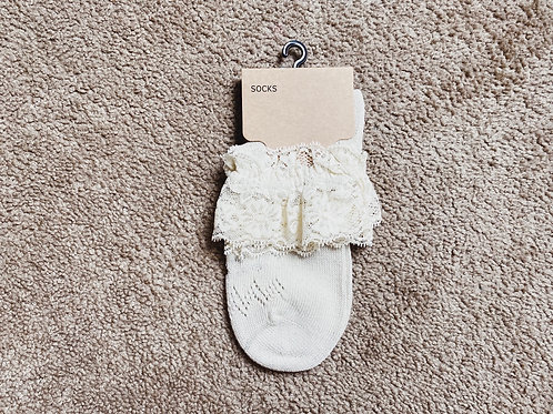 Lace Foldover Bootie Sock - Ivory/Gold