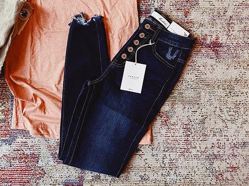 Dark Wash Kancan 5-Button High Waist Jeans