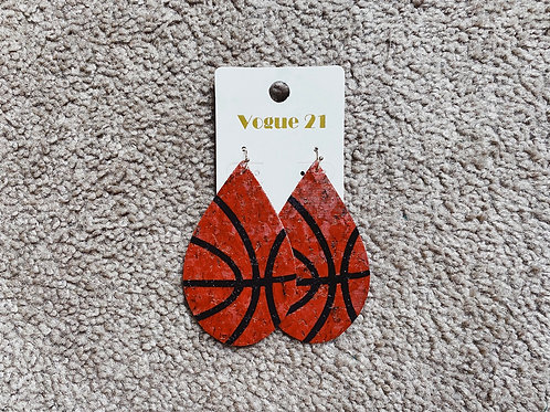 Basketball Cork Earrings
