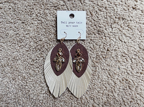 Layered Feather Earrings - Brown/Gold