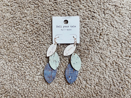 Cork Leaf Earrings - Blue/Olive