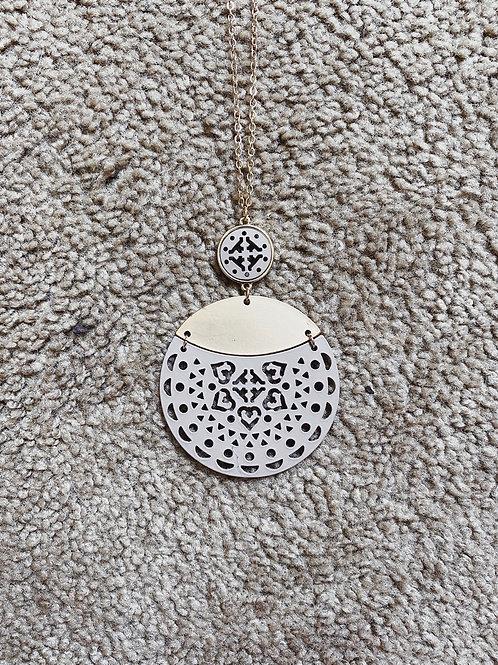 Mandala Pendant Necklace - Taupe/Gold