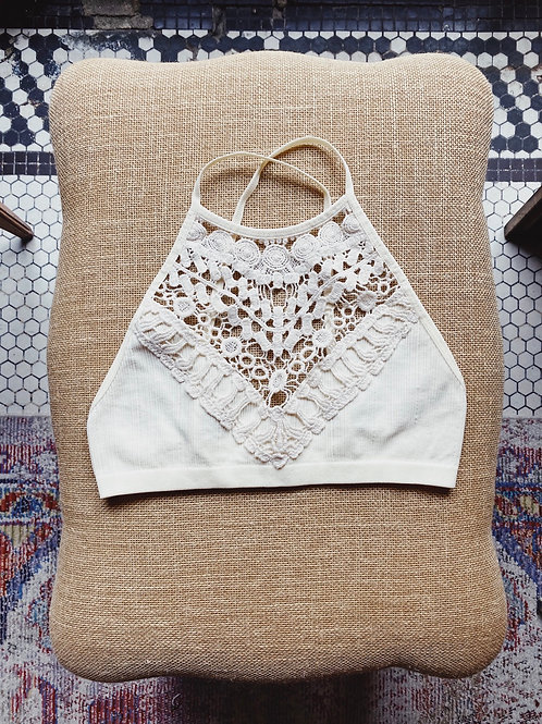 Cream Crochet High-neck Bralette