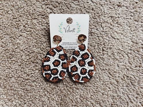 Beaded Cheetah Teardrop Earrings
