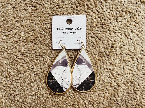 Marble Teardrop Earrings - Black
