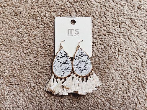 Snake Tassel Earrings - White