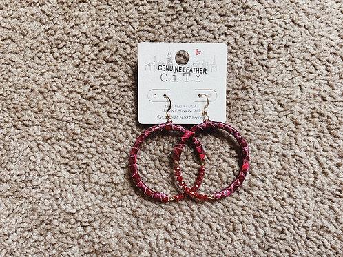 Leather/Beaded Hoop Earrings - Red