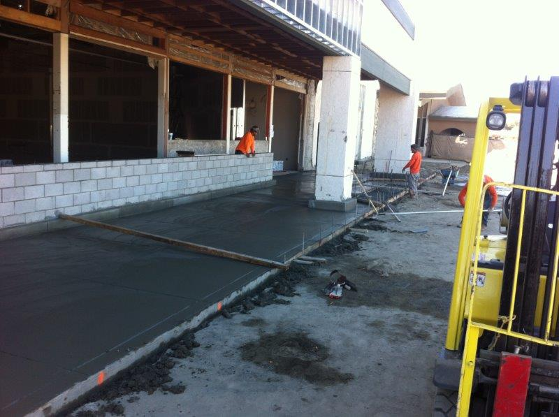 Storefront concrete poured