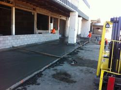 Storefront concrete poured