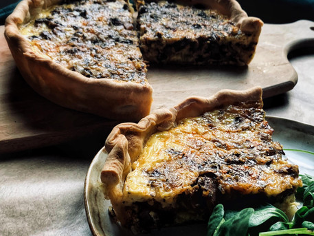 Easy Mushroom, Leek and Comté Quiche