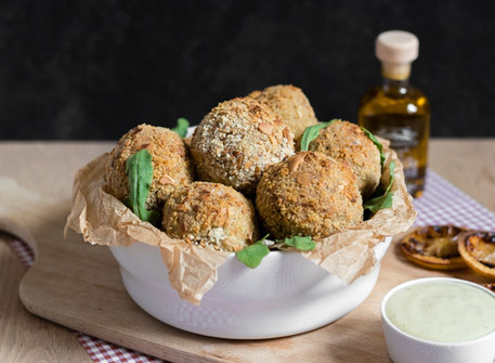 Oven Baked & Almond Crusted Arancini with Truffle-Garlic Aioli (Vegan + GF)