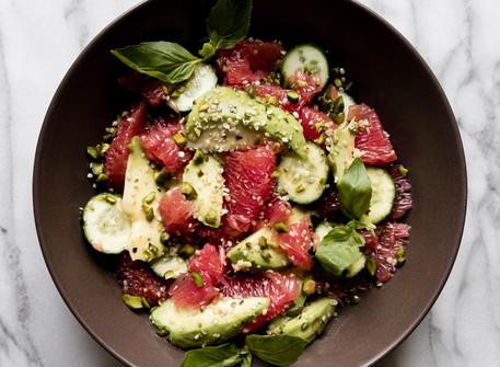 Avocado Grapefruit Summer Salad with Honey-Yuzu Vinaigrette