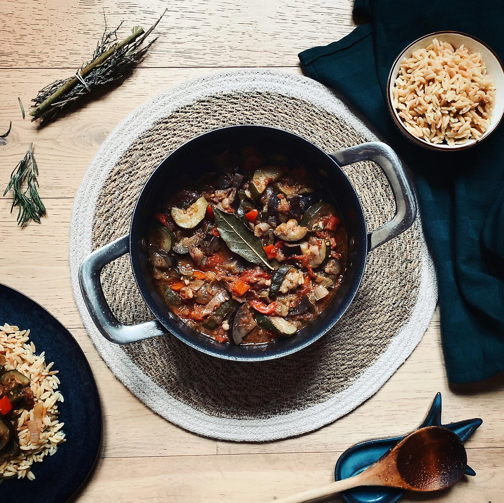 Classic French Ratatouille with Butter Toasted Orzo