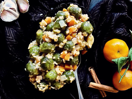 Brussels Sprouts with Garlic, Cinnamon & Clementine