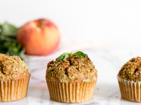 One Bowl Peach & Coconut Muffins with Basil Crumble (Vegan)