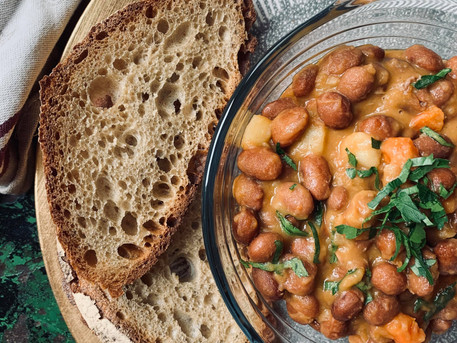 Borlotti Bean Stew in Olive Oil and Tomato Sauce (Vegan)