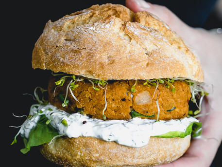Red Lentil Veggie Burger with Lemon Herb Yogurt Sauce (Vegan)