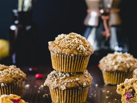 Bakery Style Pumpkin, Cranberry & Pecan Crumble Muffins (Vegan)