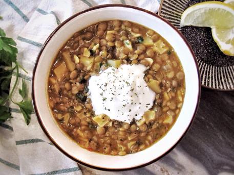 Lentil, Potato, Egg Noodle Soup (Cowboy Soup)