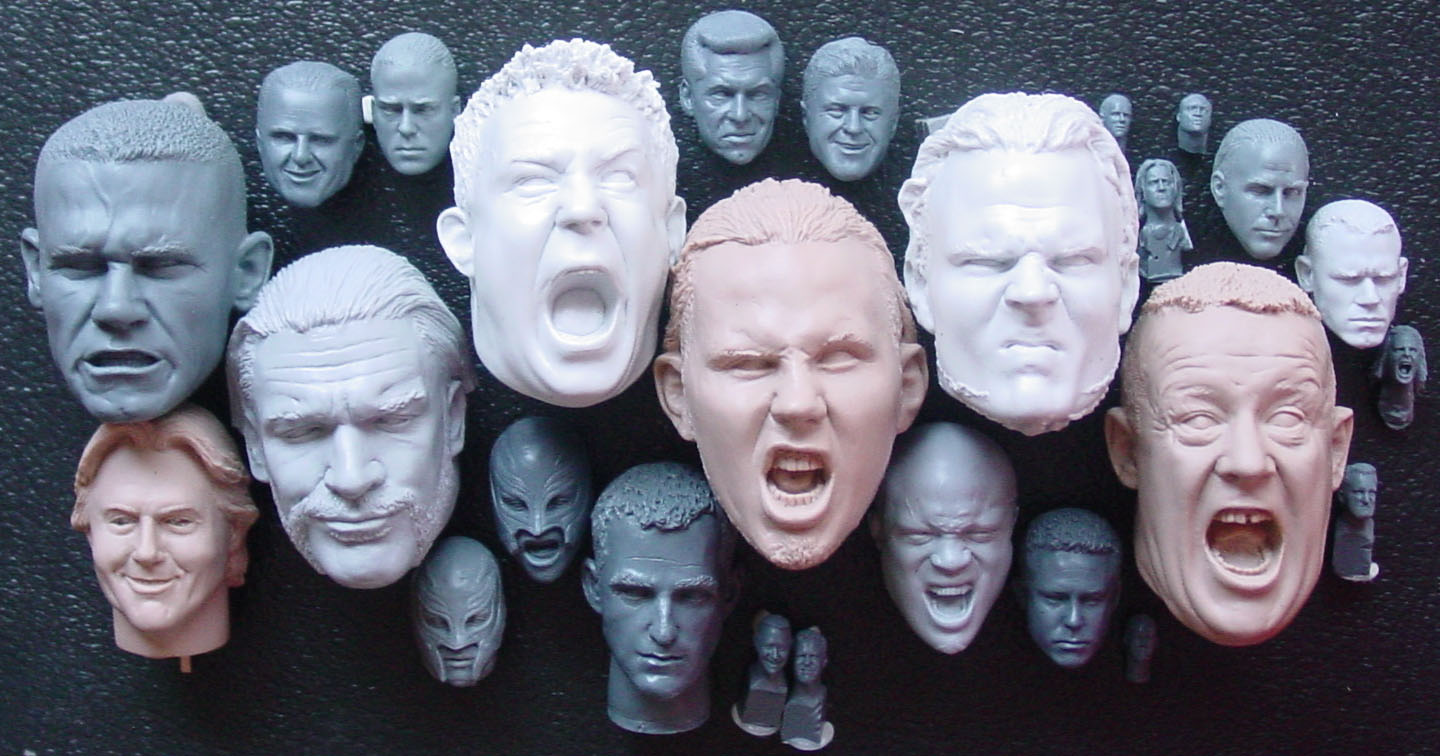 collection of head sculpts