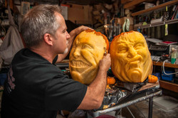 Jon Neill carving Punk Rock pumpkins