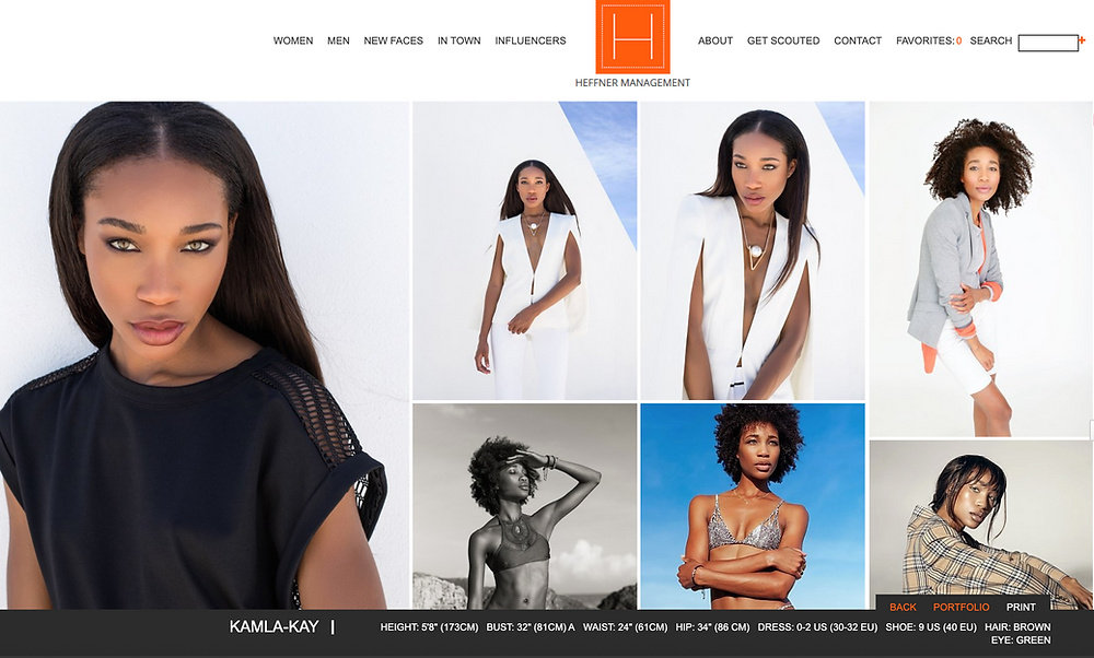 Modeling portfolio images of black model Kamla-Kay on Heffner Management website