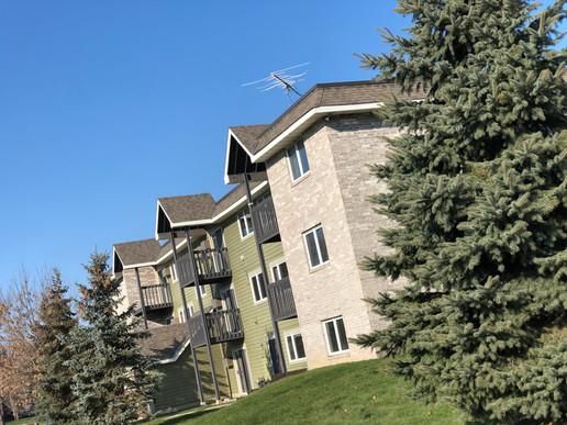 Woodridge Apartments pine trees and greenscape