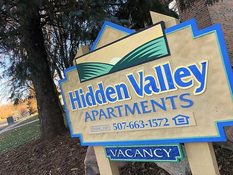 Hidden Valley Apartments vacancy sign contact info