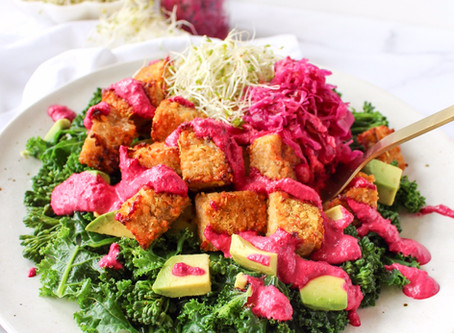 Three Greens with Tempeh Gems and Creamy Beetroot Dressing
