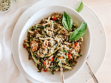 Zucchini Pesto Pasta with Lentils