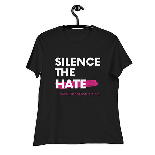 """""""SilenceTheHate"""" Women's Relaxed T-Shirt (Black)"""