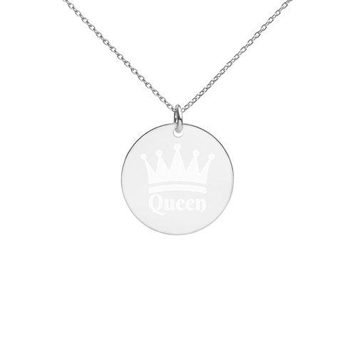 """Queen"" Engraved Silver Disc Necklace"