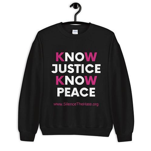 'Know Justice Know Peace' Unisex Sweatshirt (Black)