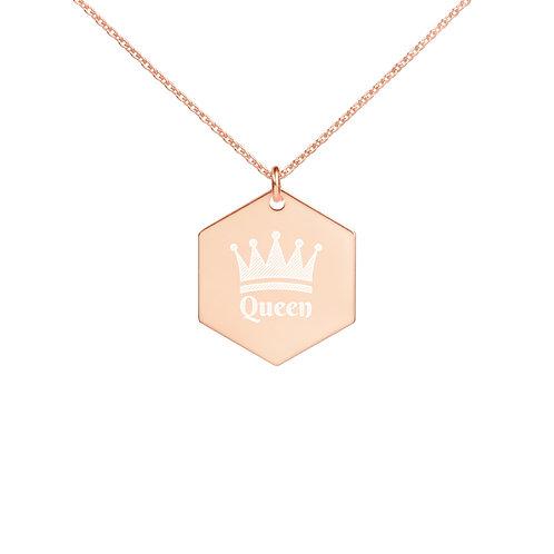 """""""Queen"""" Engraved Silver Hexagon Necklace"""