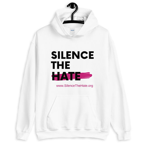 """SilenceTheHate"" Unisex Hoodie (White)"