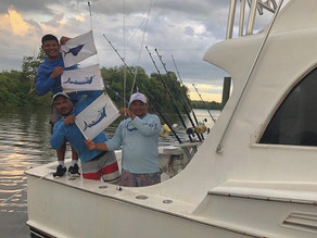 Great day, Big 400 pound blue marlin, jump on the boat.