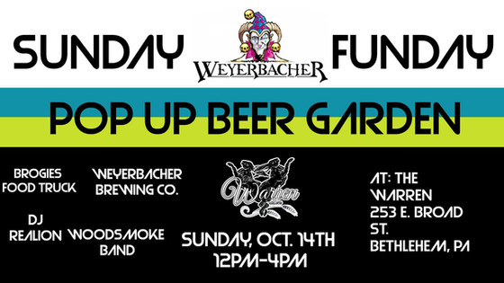 Join Us on October 14 for a Weyerbacher Pop Up Beer Garden
