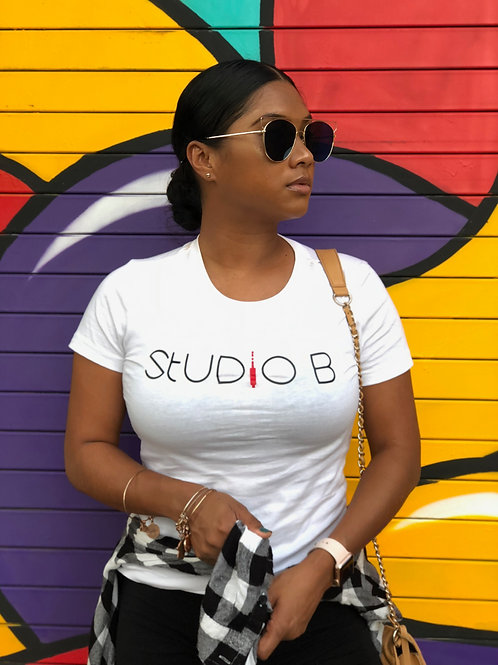 Studio B Tee Shirts [crew or v-neck] (White/Black/Red Aux)