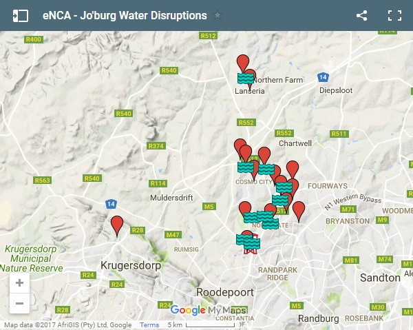 MAP: Massive water cut for Joburg northern suburbs