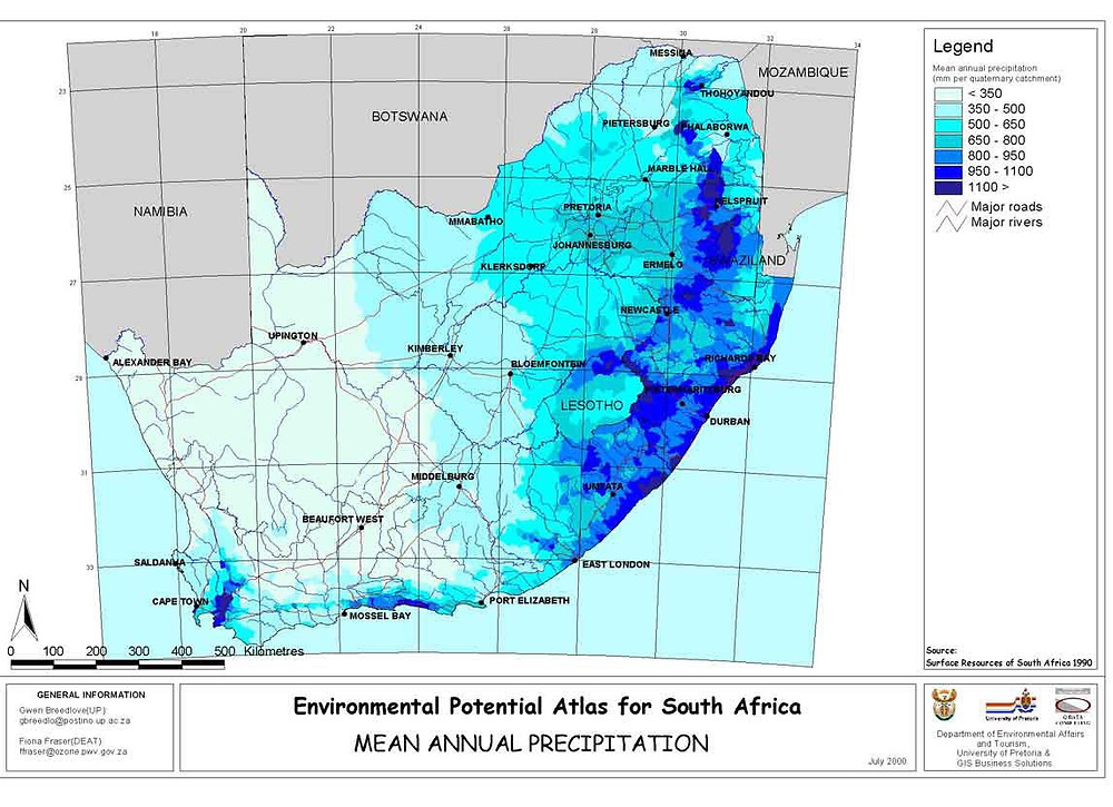 Fig 1 . Mean annual precipitation map for South Africa.