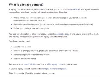 Facebook Legacy Contact